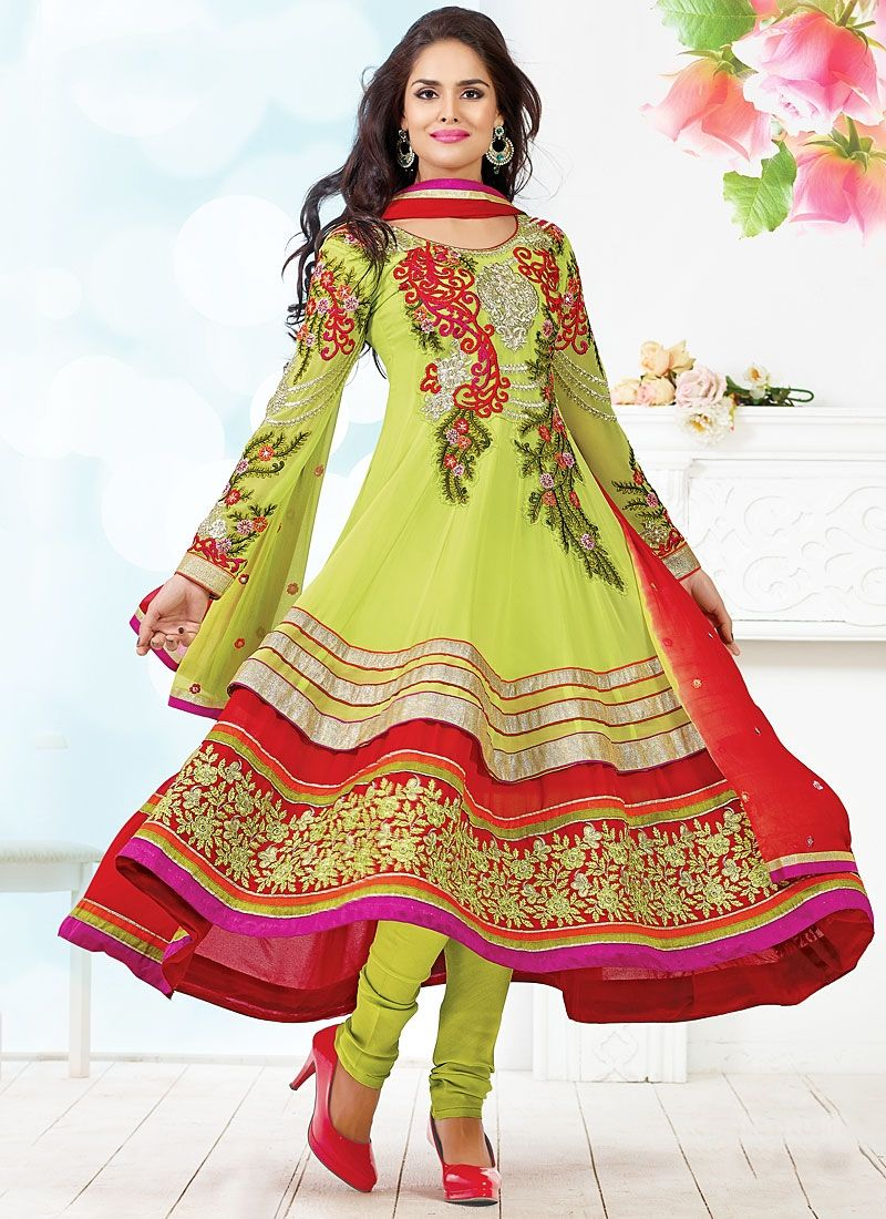 Green And Red Viscose Anarkali Suit