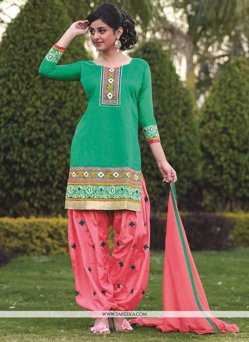 Green Banarasi Jacquard Punjabi Suit