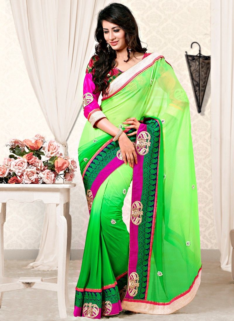 Green Color Faux Georgette Designer Saree