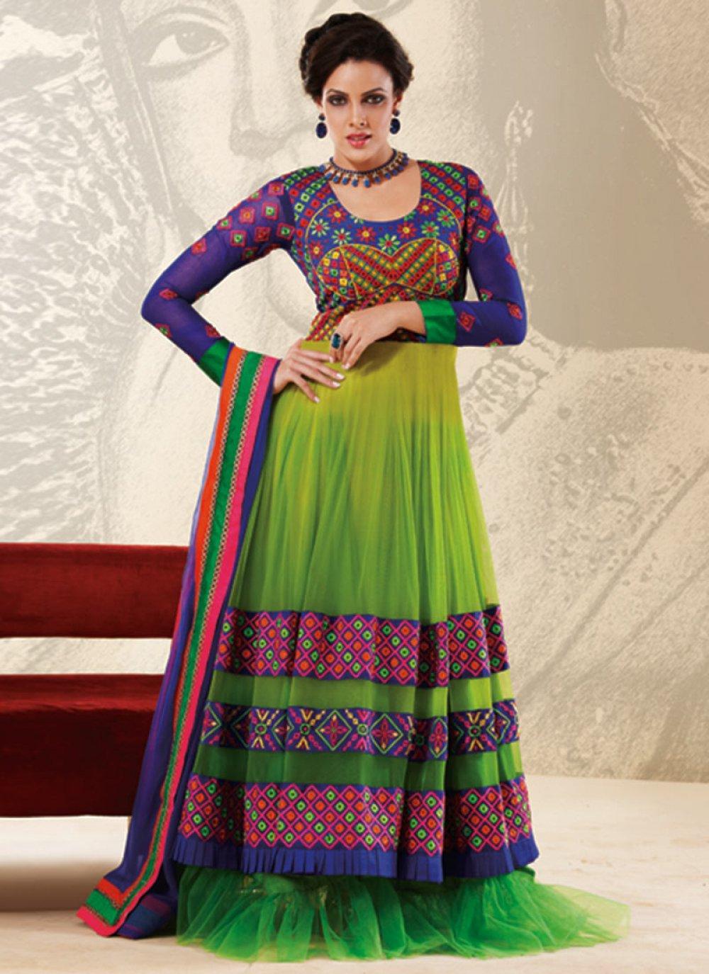 Green Cord Work Designer Anarkali Suit
