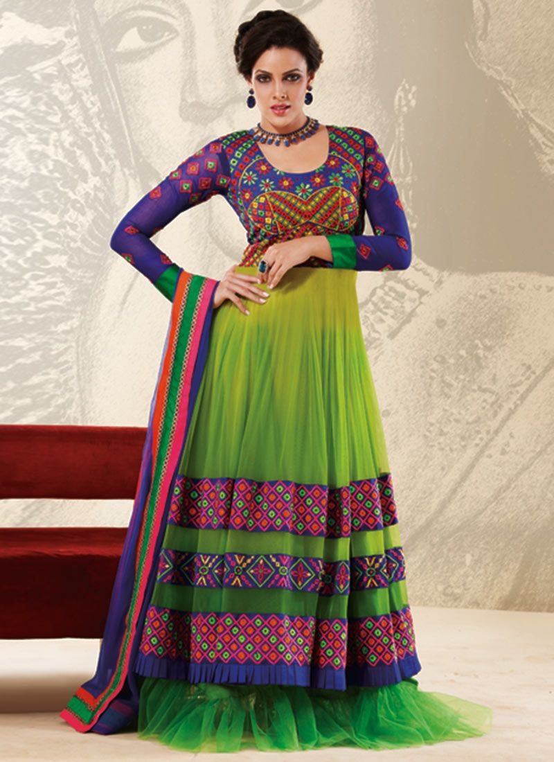 Green Cord Work Designer Anarkali Suit