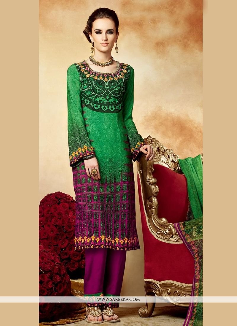 Green Crepe Pakistani Suit