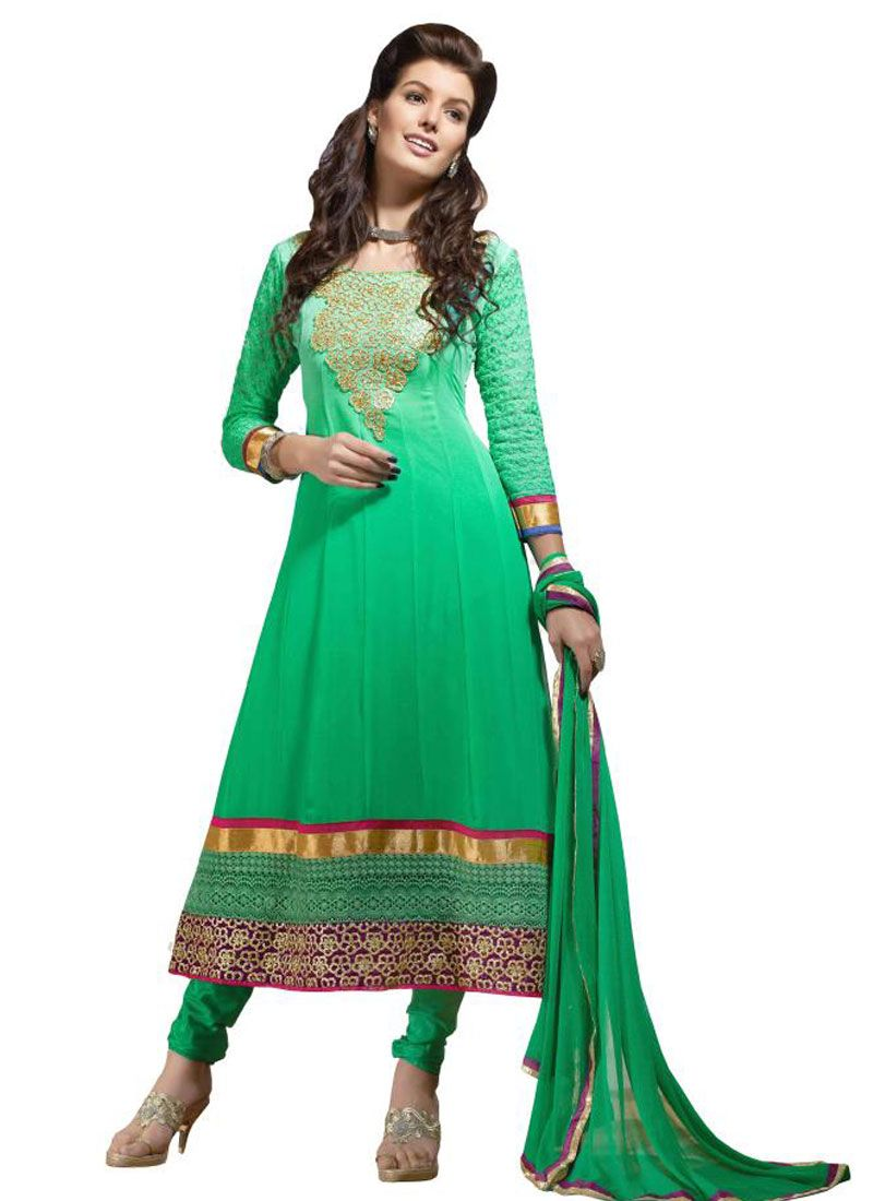 Green Embroidery Border Work Anarkali Suit