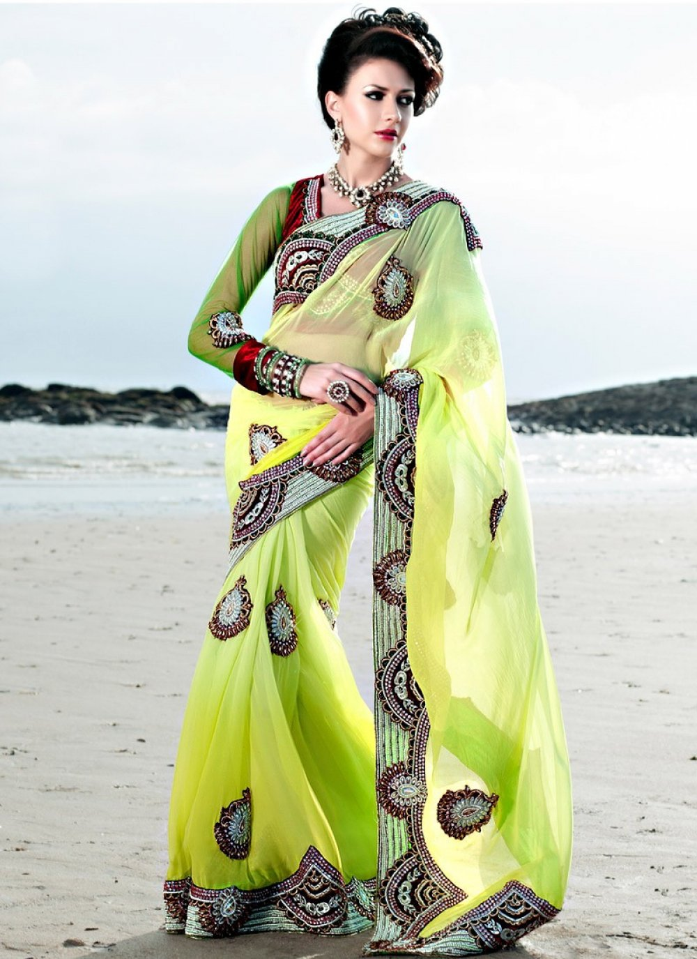 Green Georgette And Embroidered Designer Saree