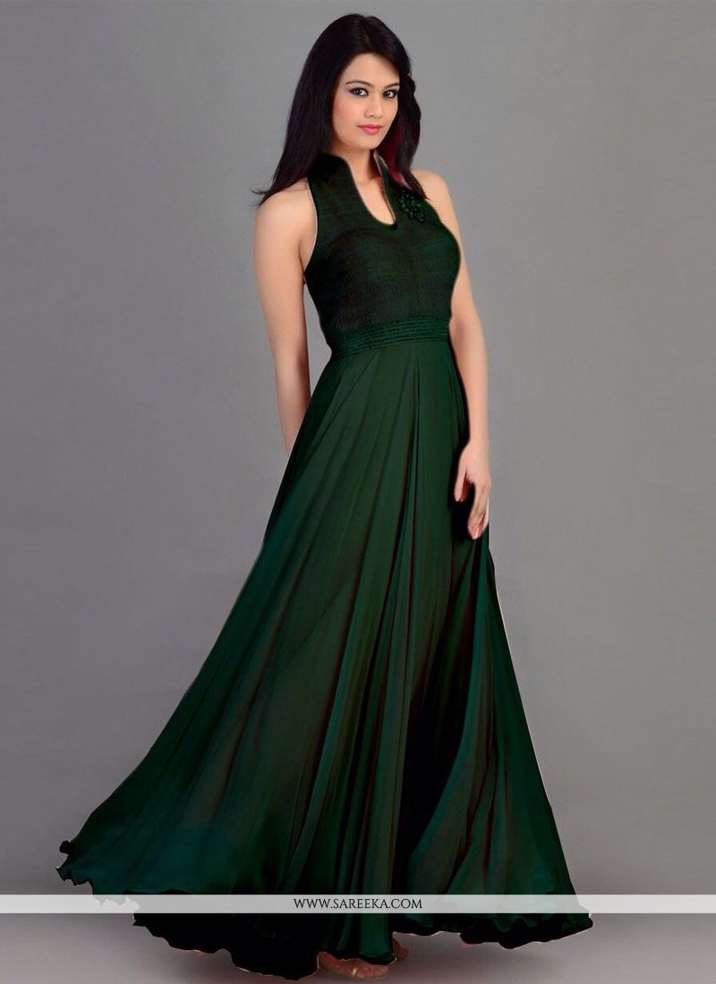 Green Georgette Gown
