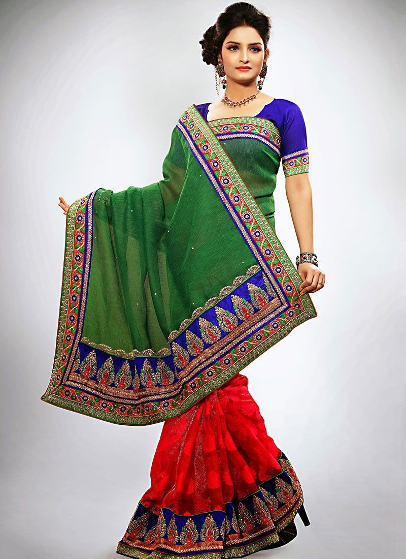 Green Jacquard Half And Half Saree
