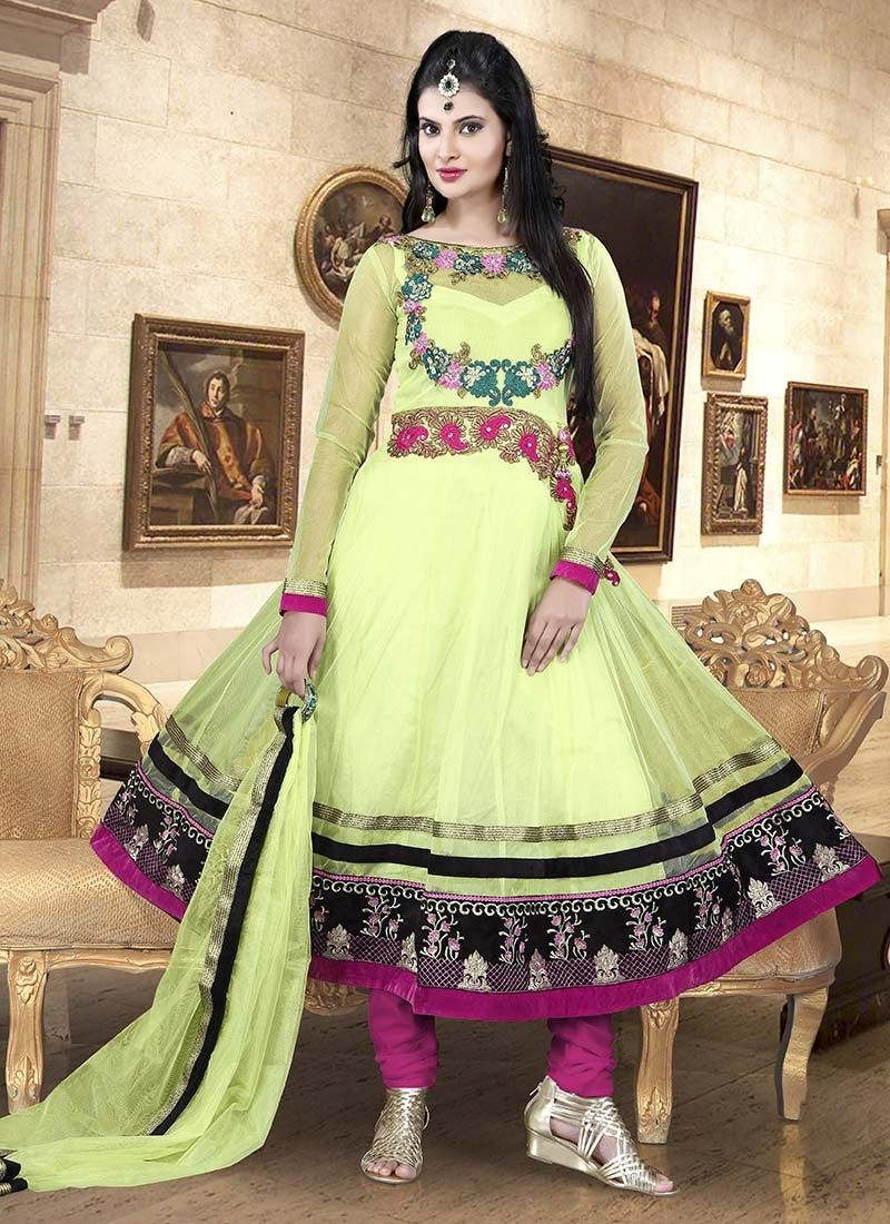 Green Net Zari Work Anarkali Suit