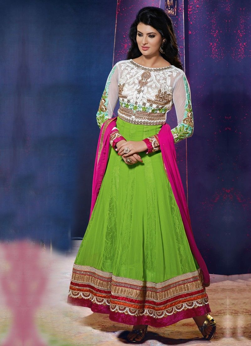 Green Patch Border Work Anarkali Salwar Kameez