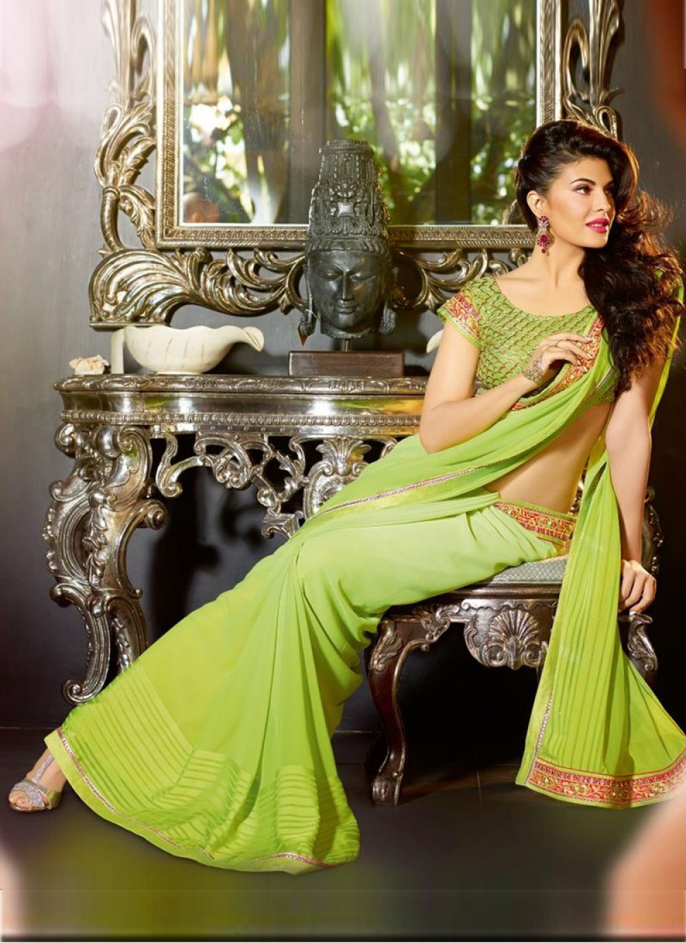 Green Patch Border Work Party Wear Saree