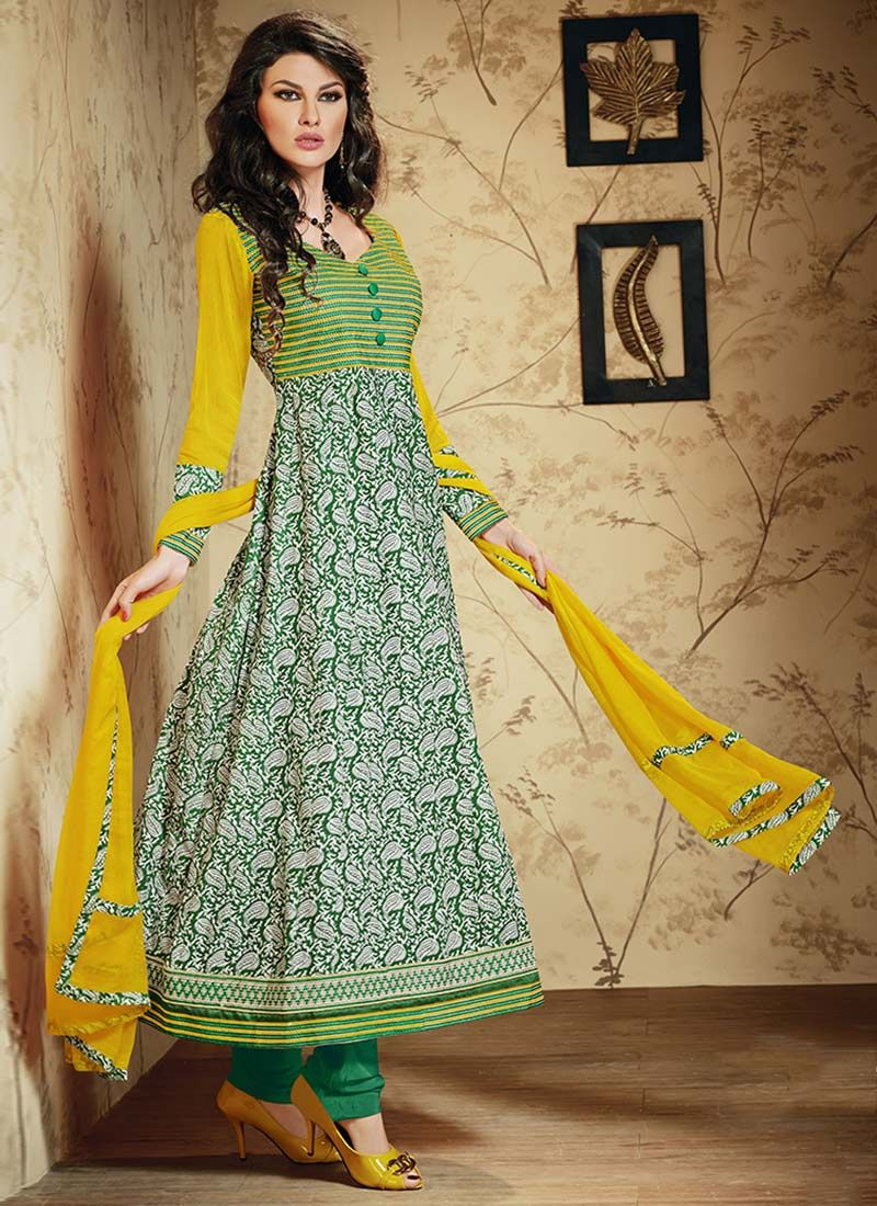 Green Printed Cotton Anarkali Suit