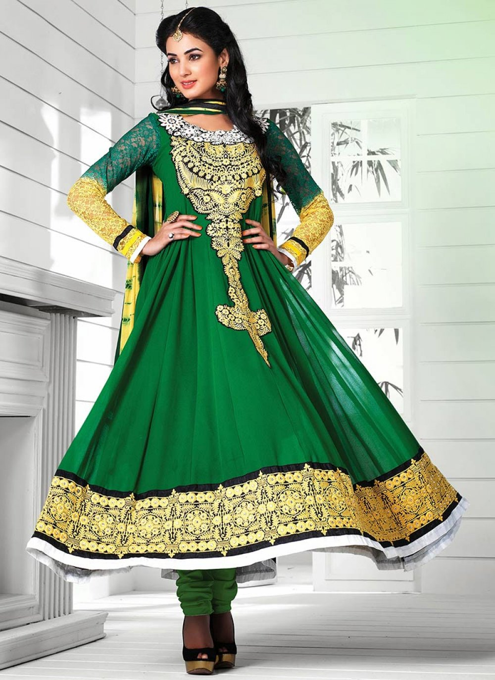 Green Pure Georgette Stylish Anarkali Suit
