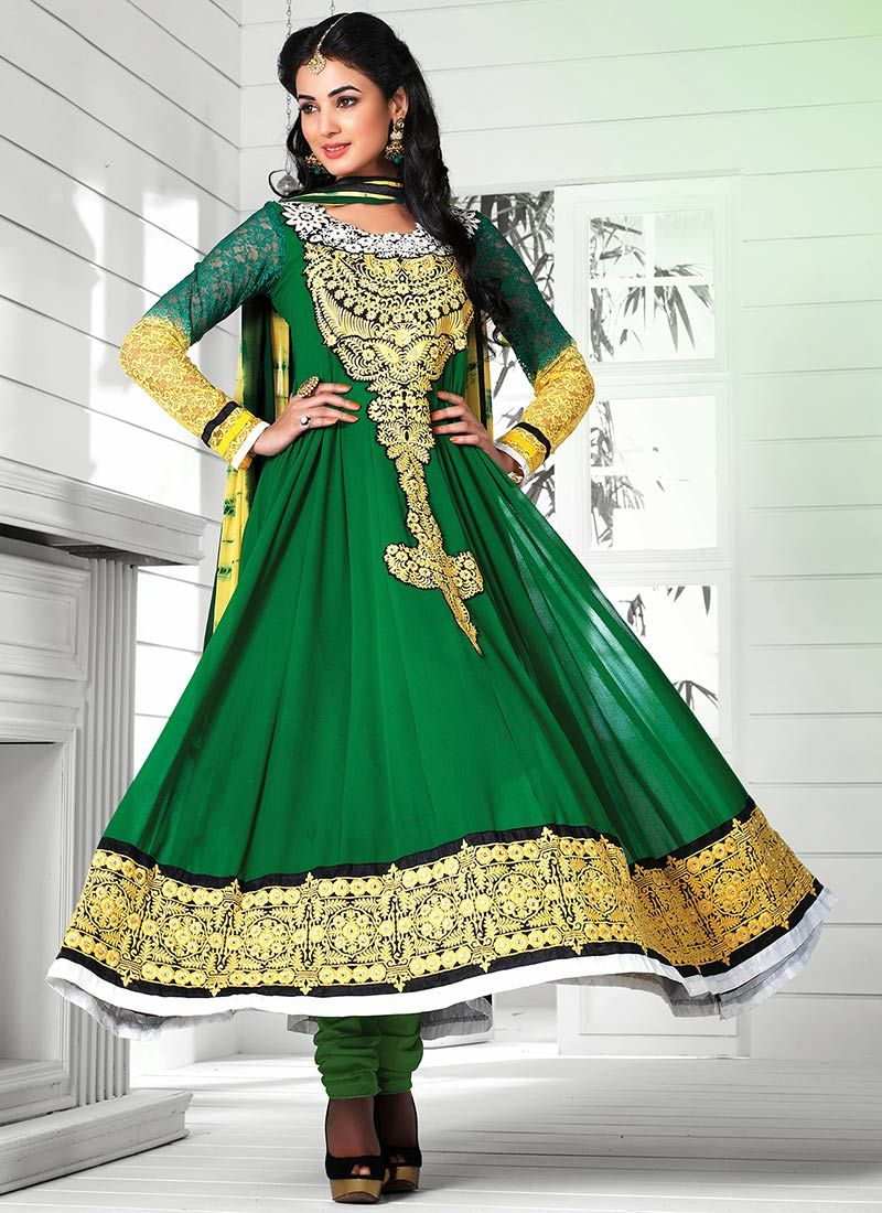 Green Pure Georgette Stylish Anarkali Suit