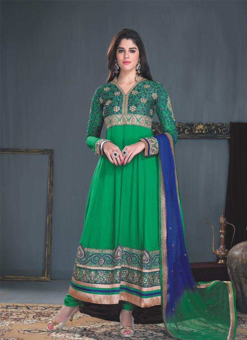 Green Resham Patch Border Work Anarkali Suit