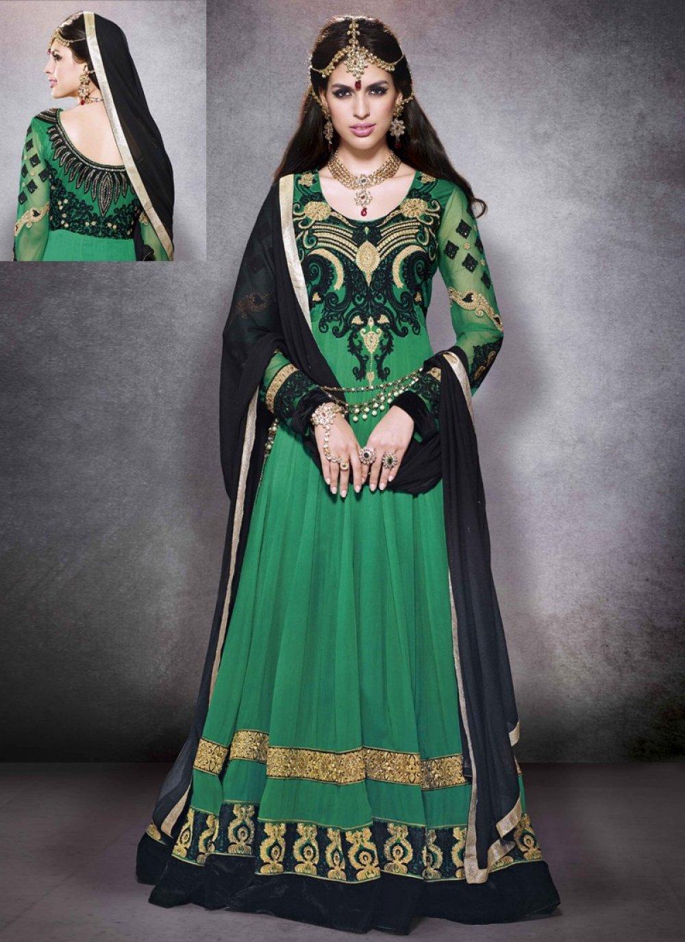 Ayesha Takia Green Resham Patch Border Work Net Anarkali Suit