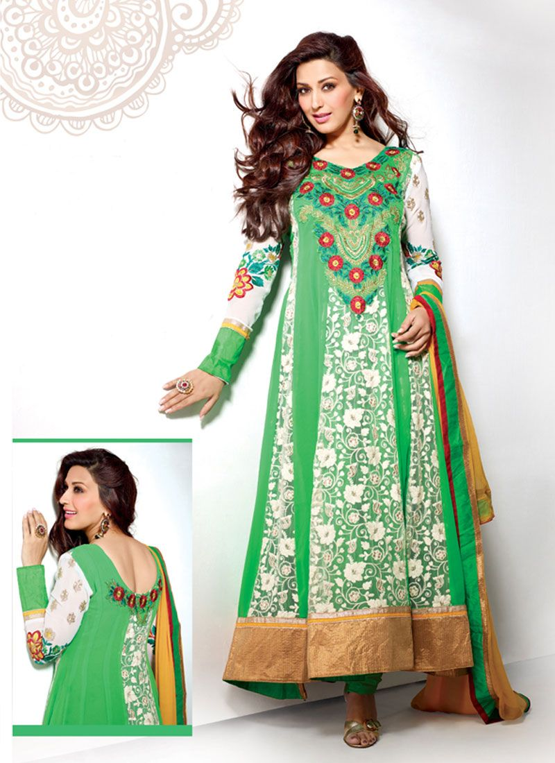 Green Resham Work Anarkali Suit