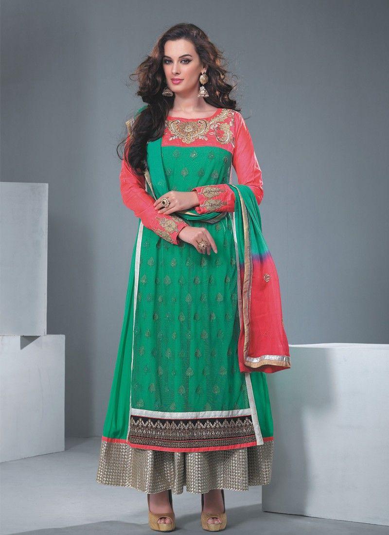 Green Resham Work Net Anarkali Salwar Kameez