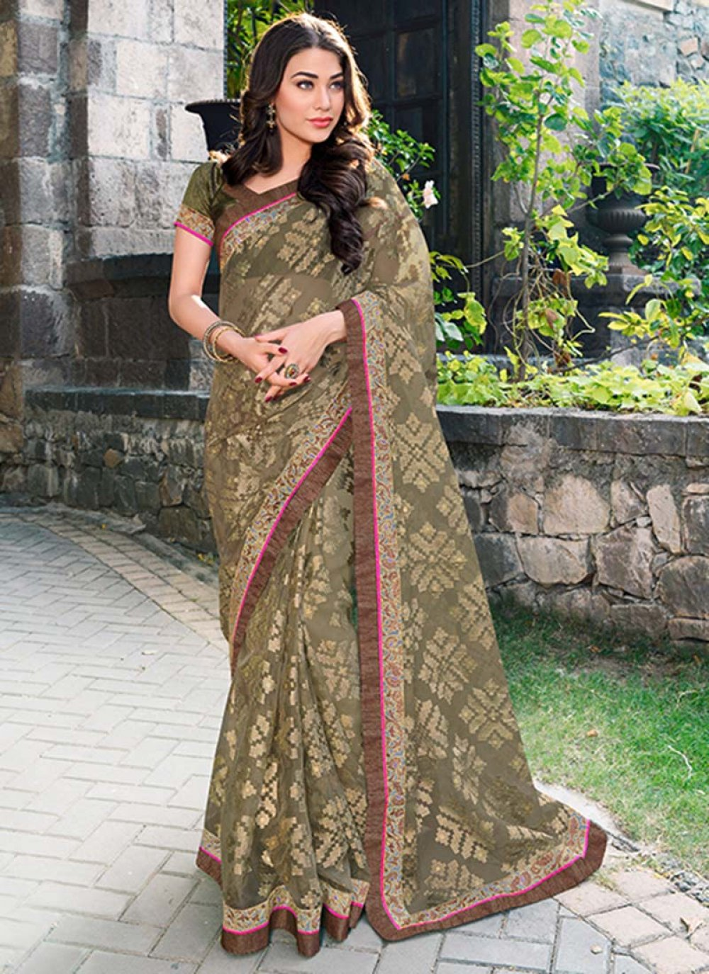 Green Tissue Saree