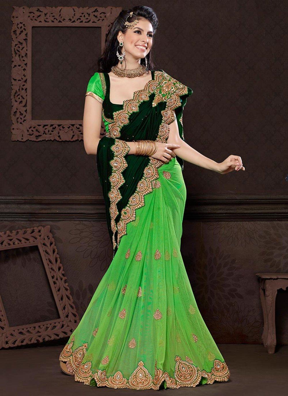 Green Velvet And Net Butterfly Saree