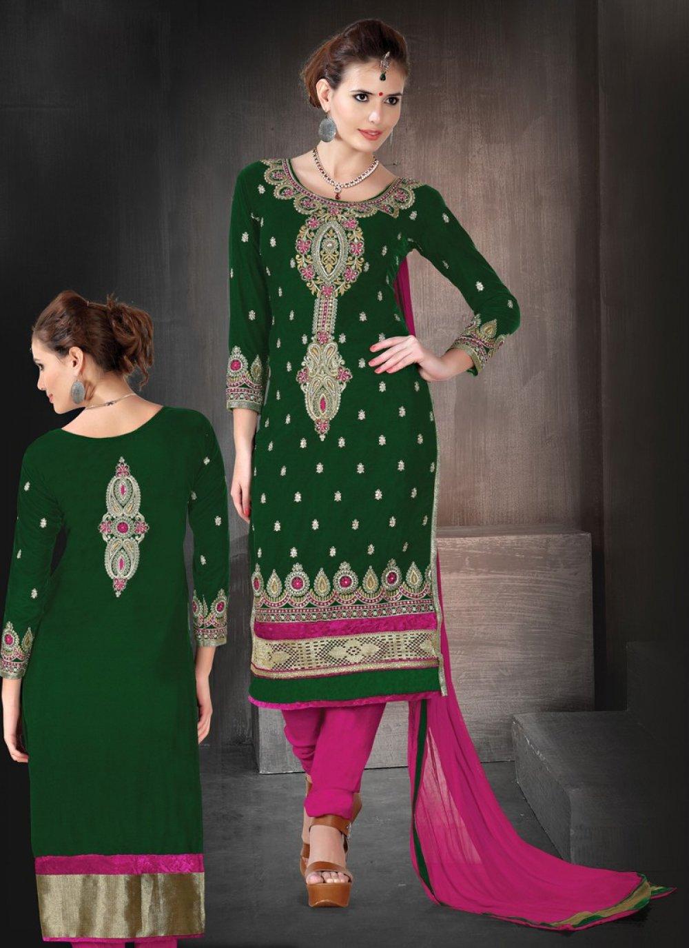 Green Velvet Churidar Suit