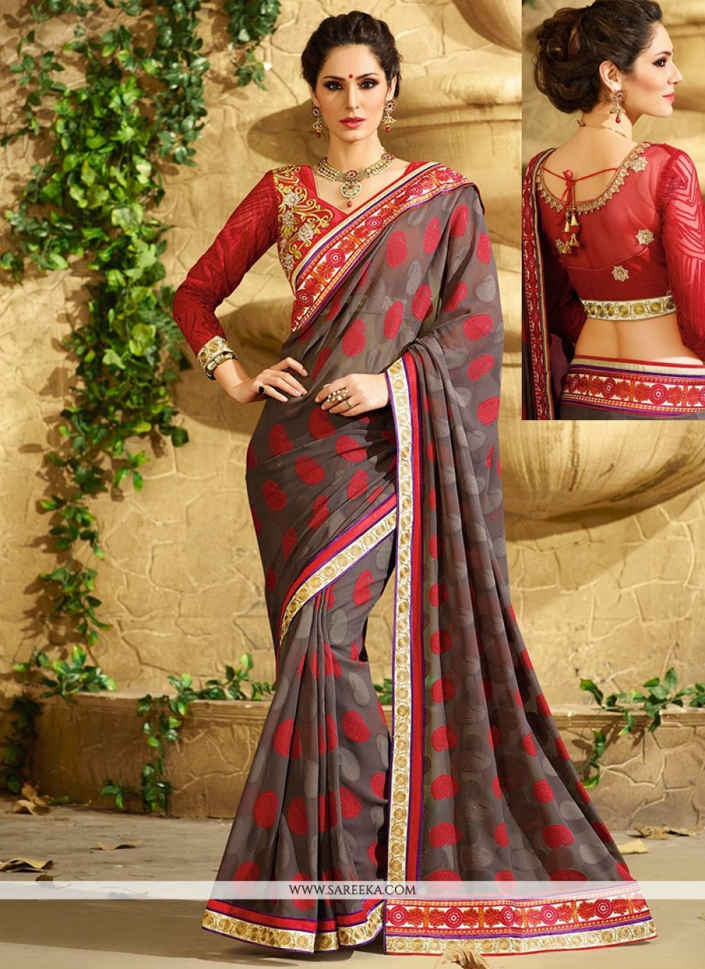Grey Georgette Jacquard Saree