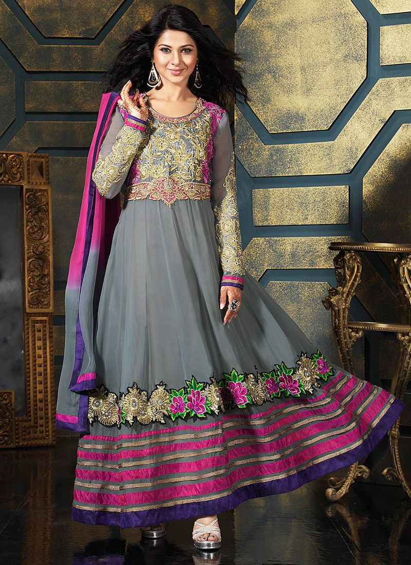 Grey Resham Work Faux Georgette Anarkali Suit