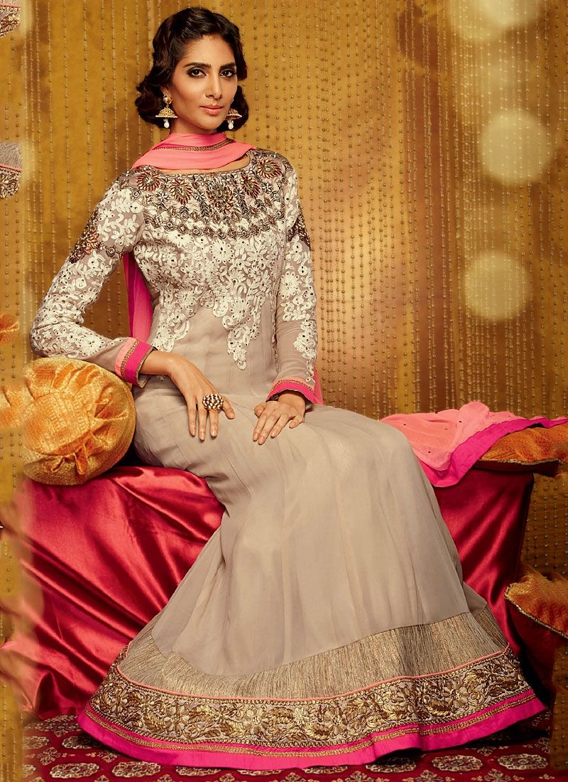 Grey Zari Border Work Georgette Anarkali Suit