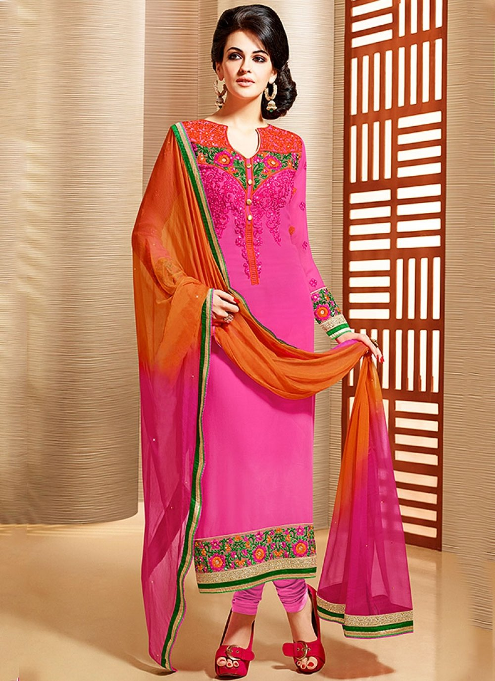 Magenta Embroidery Faux Georgette Churidar Suit