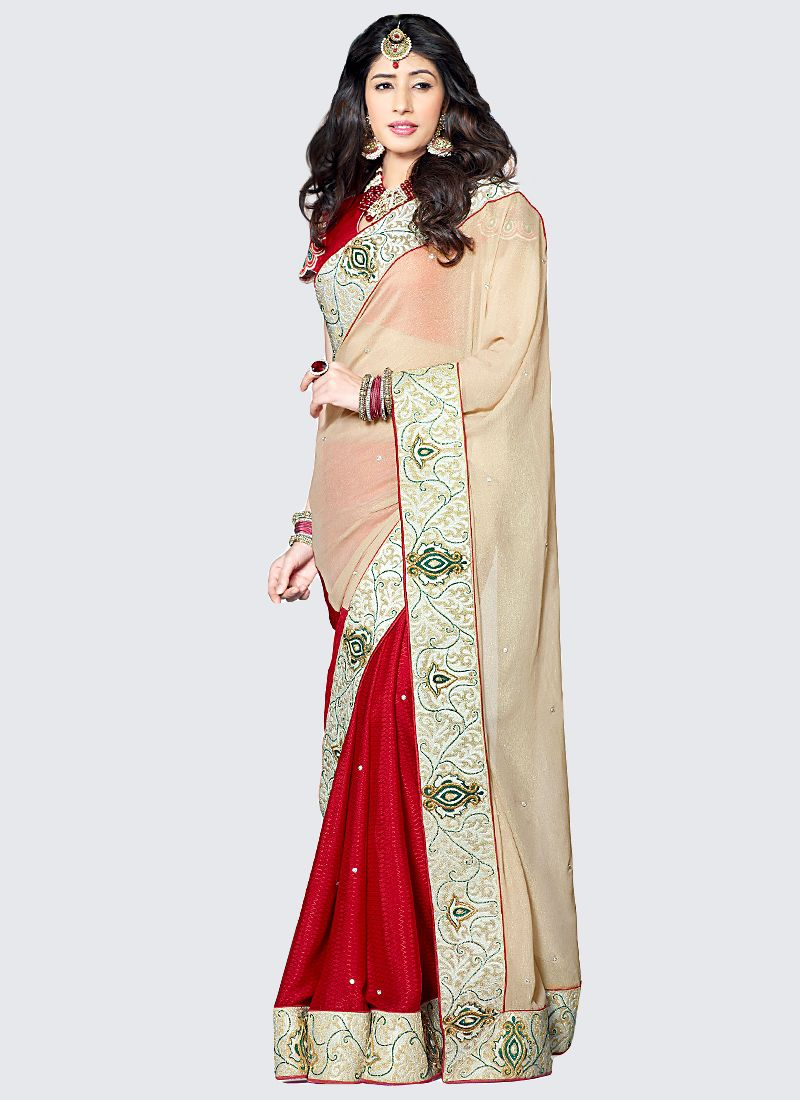 Maroon And Cream Chiffon Half And Half Saree