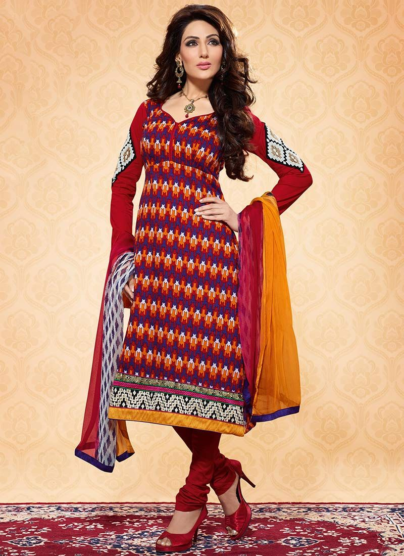 Multicolored Printed Cotton Churidar Suit