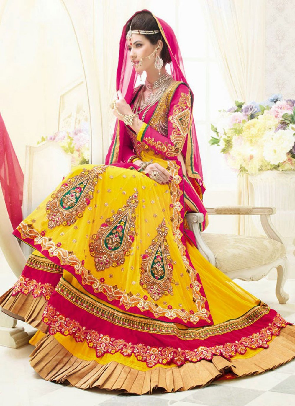 Mustard And Pink Embroidery Work Lehenga Choli