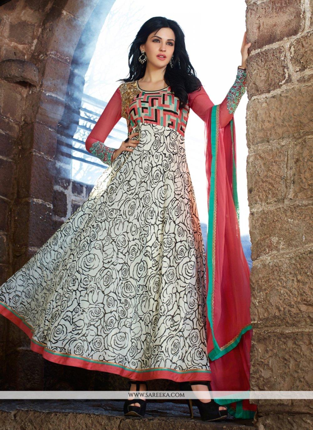 Off White Georgette Anarkali Salwar Suit