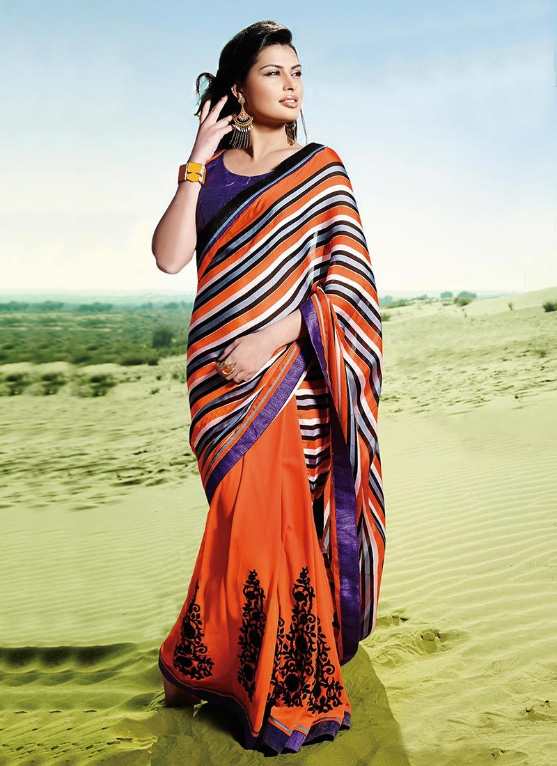 Orange Border Work Georgette Embroidered Saree