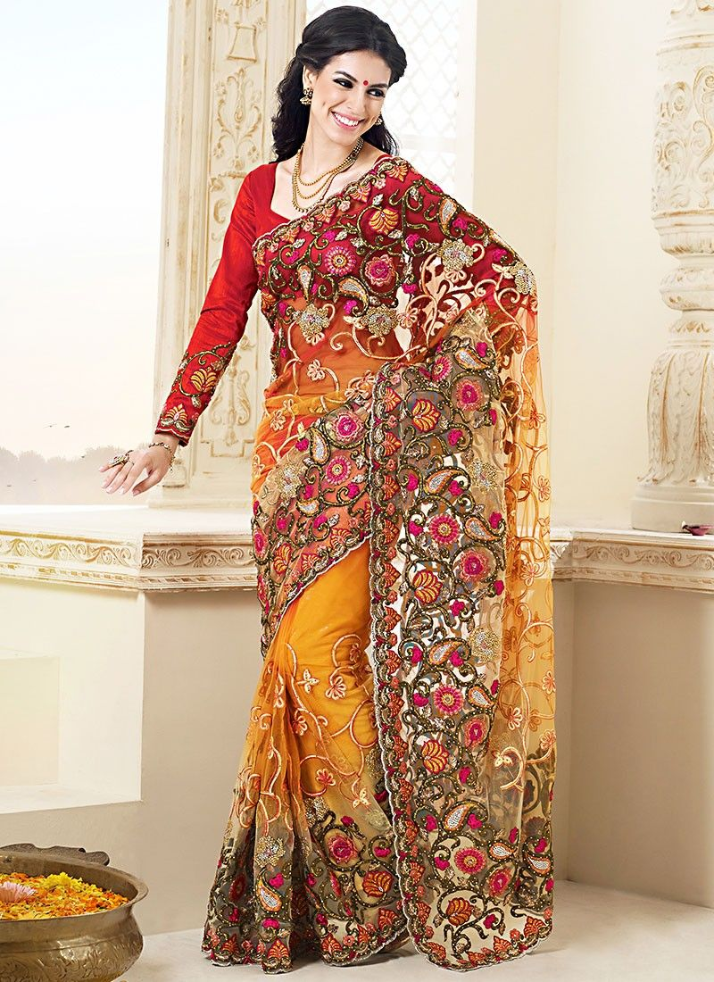 Orange Embroiedred Work Stylist Saree