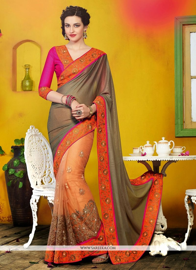 Orange Net And Georgette Designer Saree