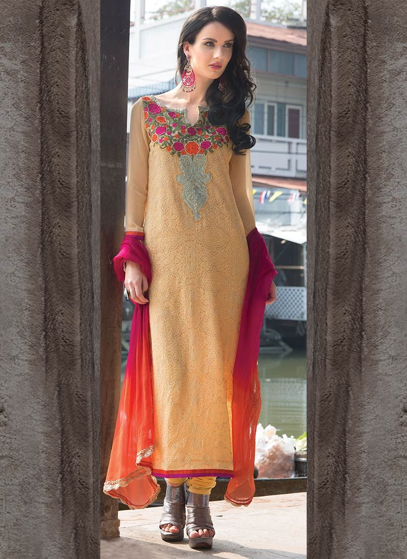 Peach Chiffon Churidar Suit