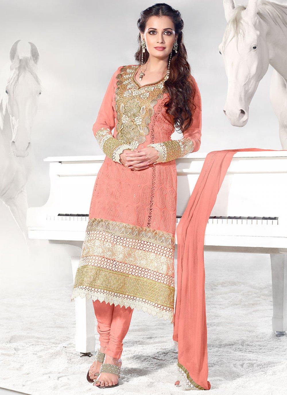 Peach Resham Work Churidar Suit