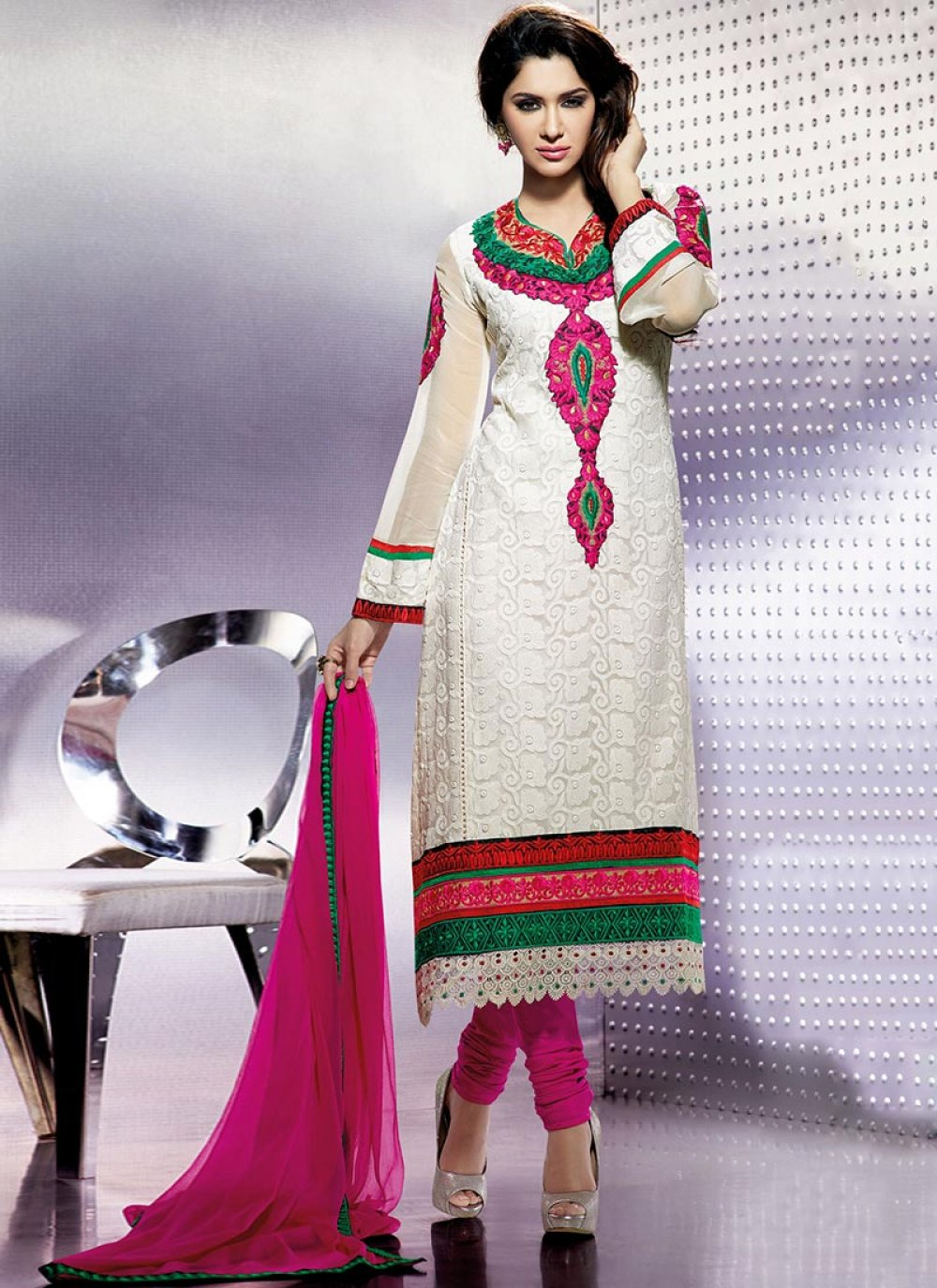 Pink And White Chiffon Designer Churidar Suit