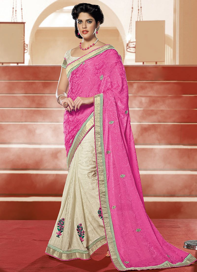 Pink Crepe Jacquard Half And Half Saree