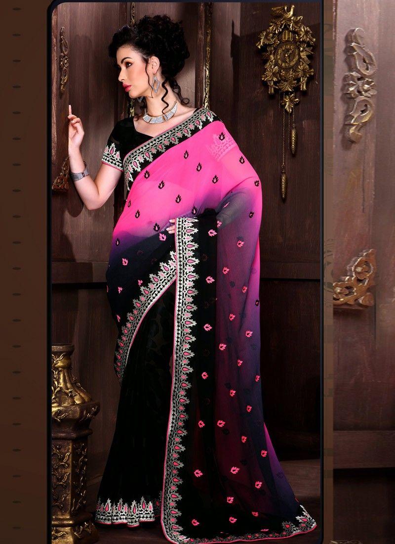 Pink Patch Border Work Stylist Saree