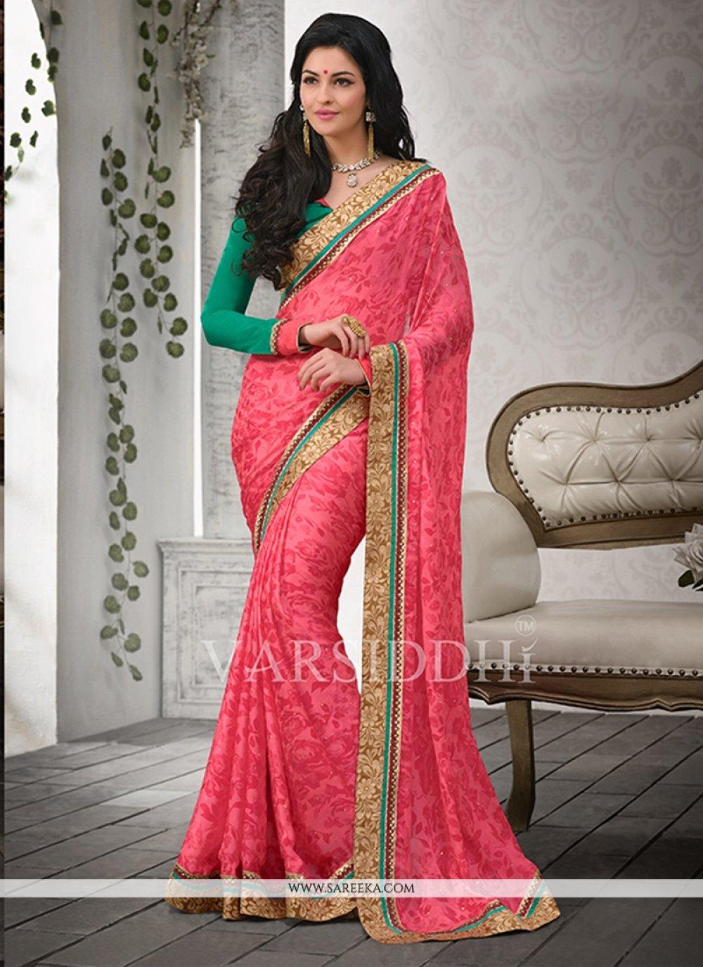 Pink Satin Chiffon Casual Saree