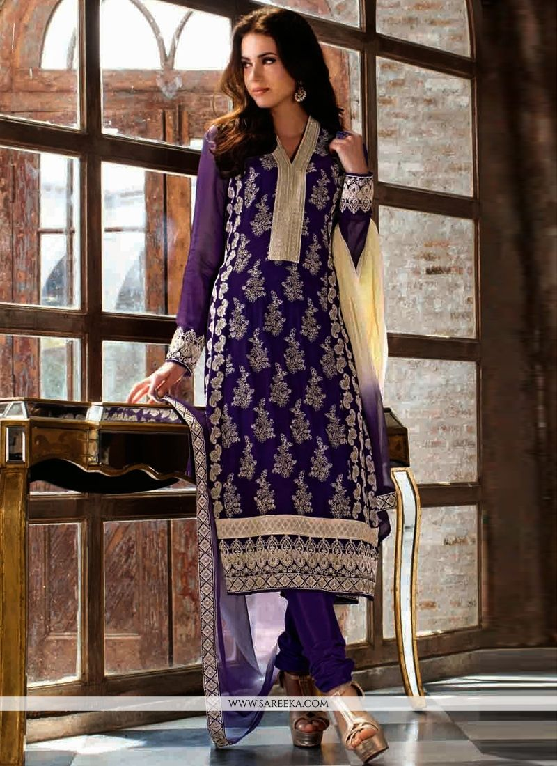 Purple Georgette Churidar Salwar Suit