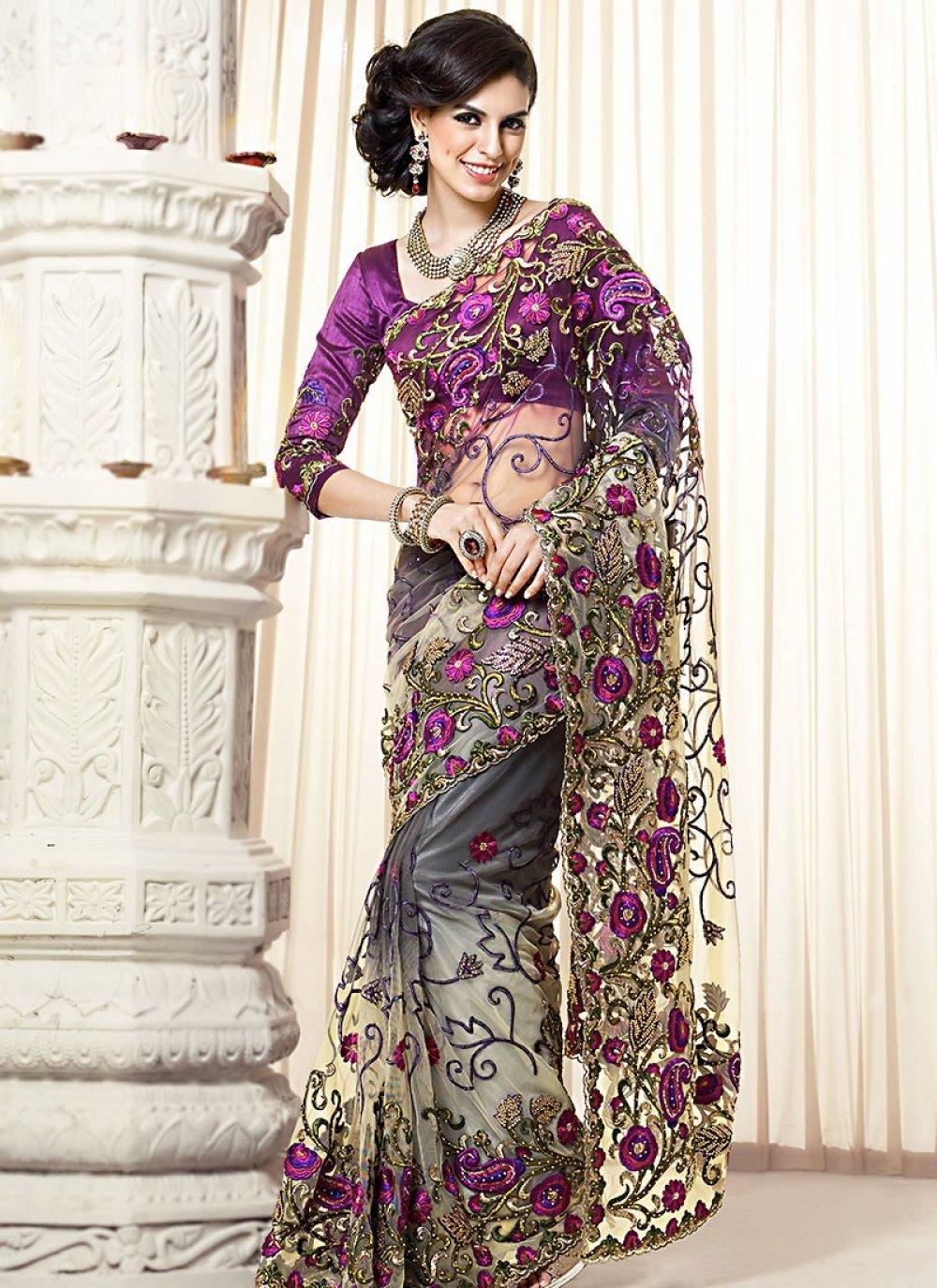 Purple Resham Work Net Designer Saree