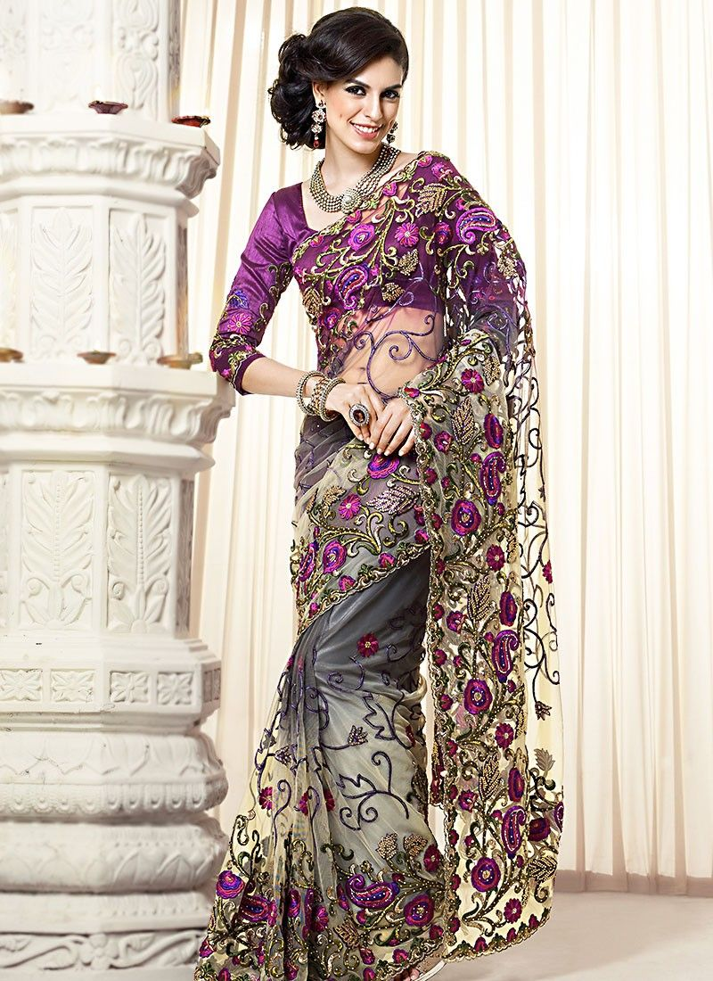 Purple Resham Work Net Designer Saree