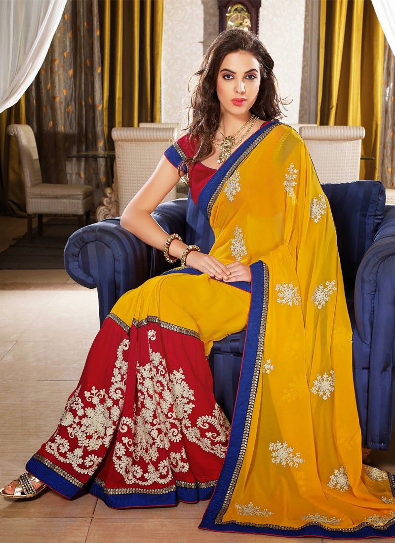 Red And Mustard Stone Work Casual Saree