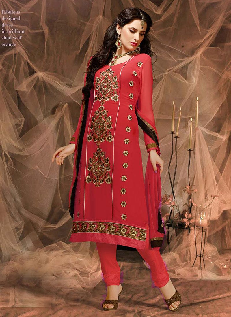 Red Embroidery Work Churidar Suit