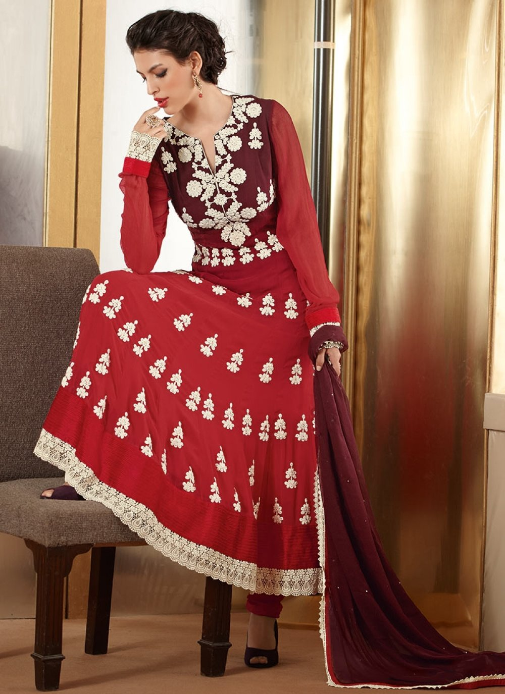 Red Faux Georgette Anarkali Suit