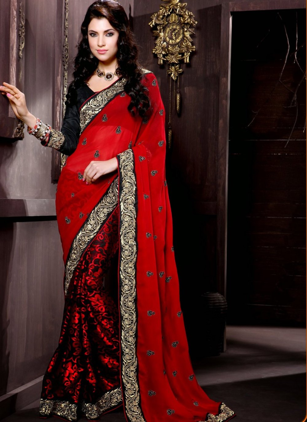 Red Faux Georgette Half And Half Saree