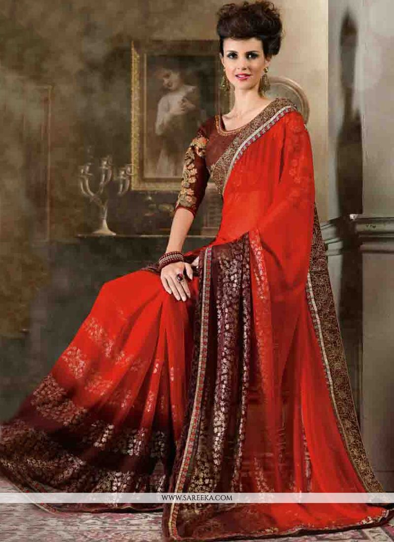 Red Lace Work Contemporary Style Saree