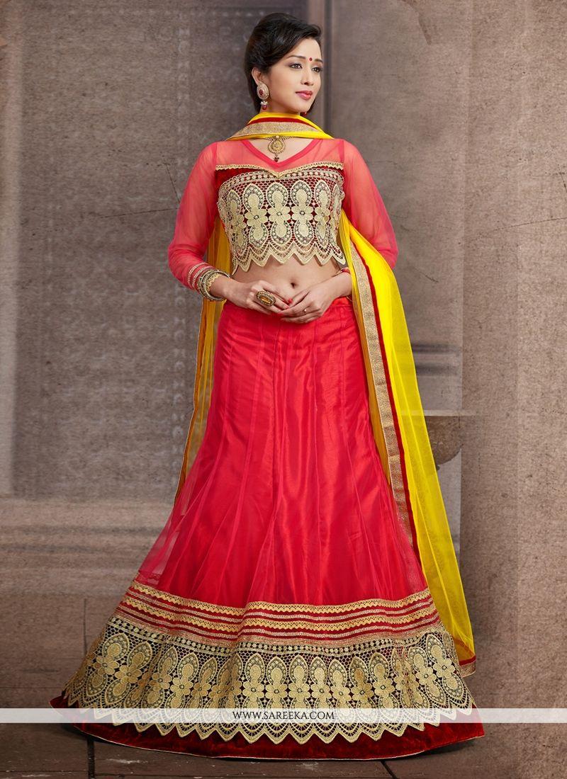 Red Net Wedding Lehenga Choli
