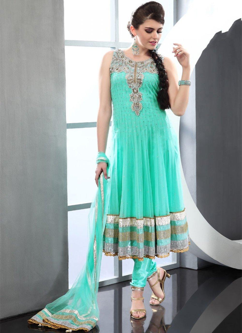 Sea Green Net Anarkali Suit